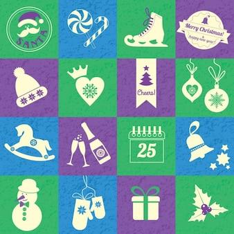 Fondo de navidad con cuadros de colores