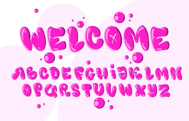 Font and alphabet in bubble style
