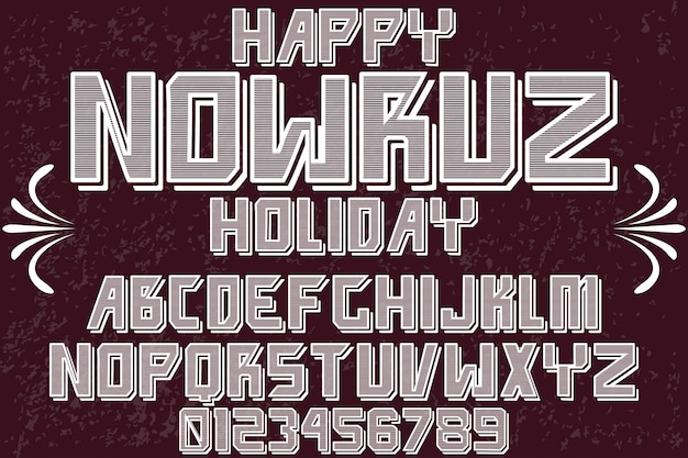 Font alphabet design happy nowruz