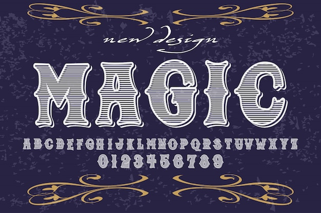 Font alphabet handcrafted vector design named magic
