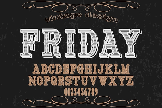 Font alphabet handcrafted vector named friday