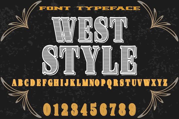 Шрифт алфавит ручной вектор по имени западный стиль