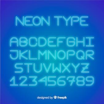 네온 스타일의 글꼴 알파벳
