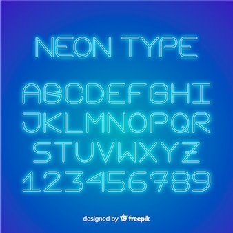 Font alphabet in neon style