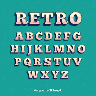 Font alphabet in retro style