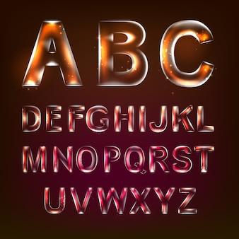 Font alphabet symbols in style of transparent glass