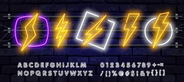 Font alphabet and thunder symbol in neon effect