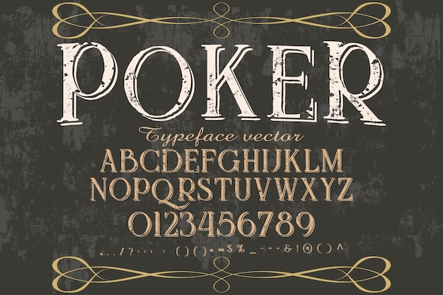 Font alphabetical graphic style poker