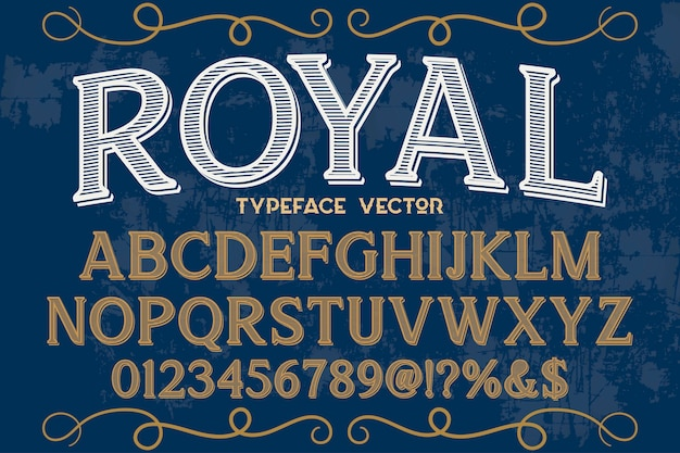 Font alphabetical graphic style royal