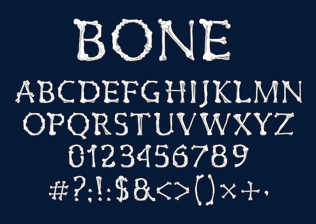 Font of bones, halloween and dia de los muertos holidays