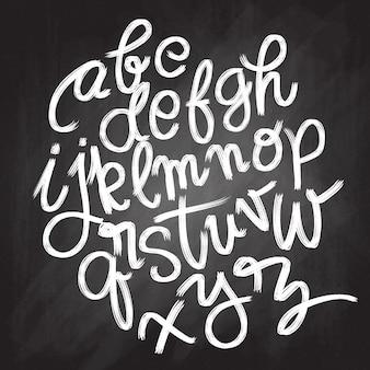 Font brush vintage hand drawn alphabet drawing with brush