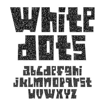 Шрифт вырезан из листов бумаги. модный алфавит, черные векторные буквы с белыми точками, строчные буквы