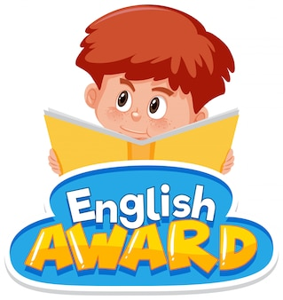 Font design for english award with boy reading book