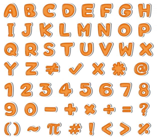 オレンジ色の英語のアルファベットと数字のフォントデザイン