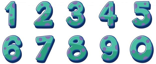 白い背景の上の番号1から0のフォントデザイン