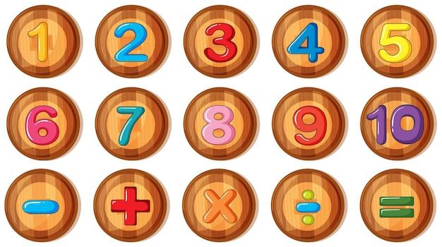 丸いバッジの数字と記号のフォントデザイン