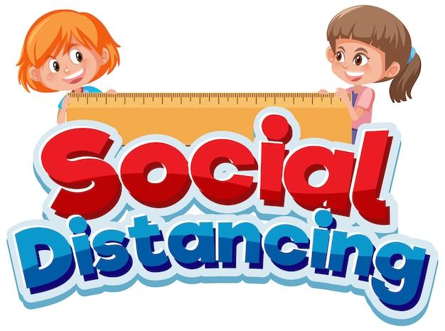 Дизайн шрифта для фразы социальной дистанции с двумя счастливыми девушками