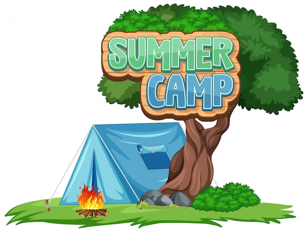 Дизайн шрифта для летнего лагеря с синей палаткой в парке