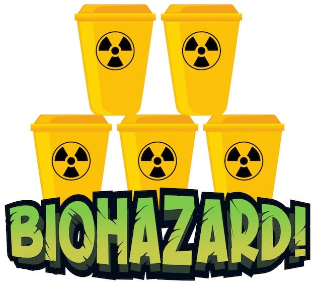 Дизайн шрифта для слова биологической опасности с желтыми мусорными корзинами