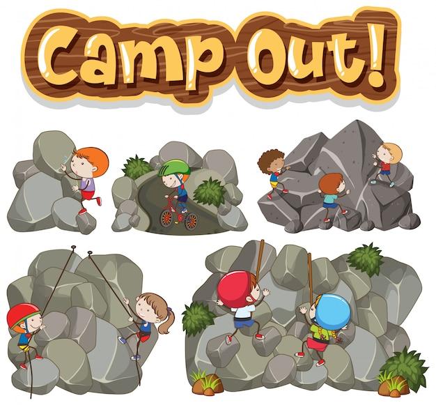 岩を登る子供たちと一緒にキャンプする単語のフォントデザイン