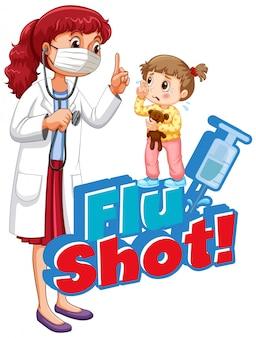 病気の女の子と白い背景の上の医者で撮影単語インフルエンザのフォントデザイン