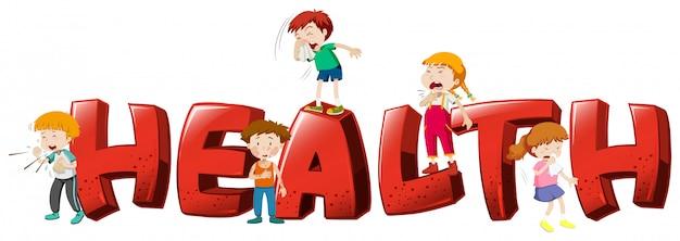 단어 건강을위한 글꼴 디자인