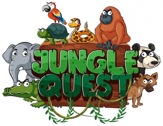 Дизайн шрифта для квеста джунглей слово с дикими животными на белом фоне