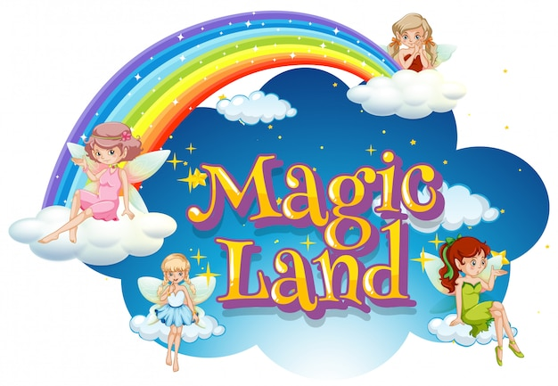 Дизайн шрифта для слова волшебной земли с феями, летящими в небе