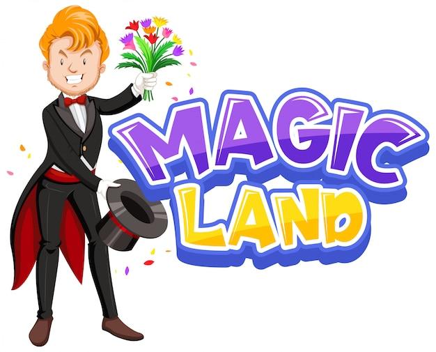Дизайн шрифта для слова волшебная земля со счастливым волшебником и цветами