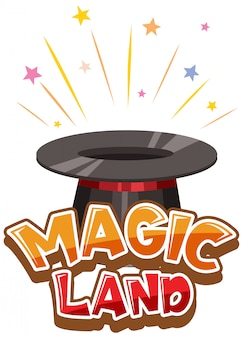 Дизайн шрифта для слова волшебная земля с волшебной шляпой