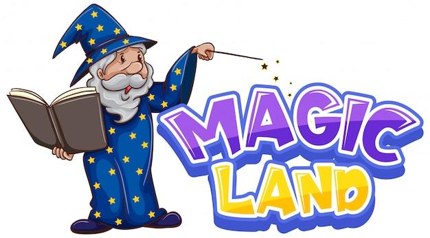 Дизайн шрифта для слова волшебной земли со старым волшебником