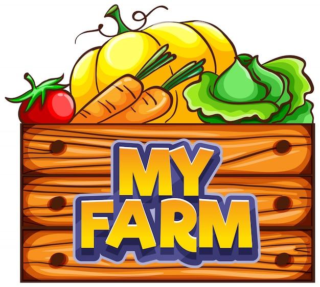 バケツに野菜と私の農場の単語のフォントデザイン
