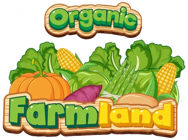 Дизайн шрифта для слова органической сельхозугодий со многими свежими овощами