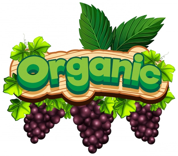 新鮮なブドウと有機単語のフォントデザイン