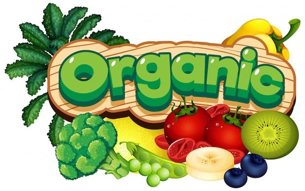 Дизайн шрифта для слова органического со многими овощами