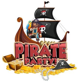 Дизайн шрифта для слова пиратской вечеринки с пиратом и золотом