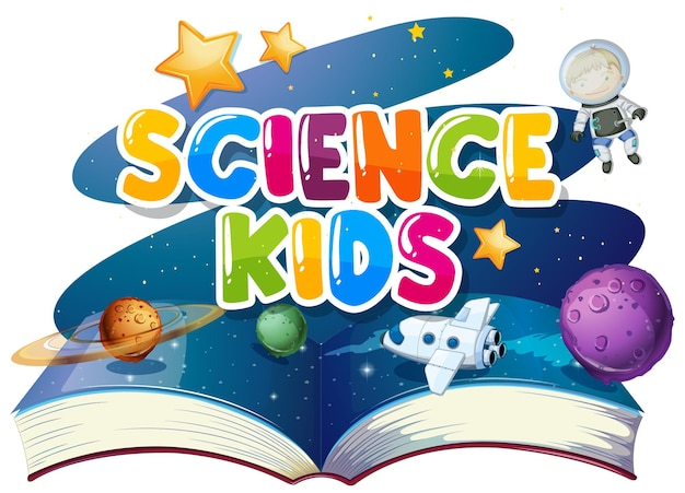 Дизайн шрифта для детей слова науки с книгой солнечной системы