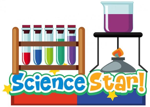 Дизайн шрифта для слова науки науки с лабораторным оборудованием на белом фоне