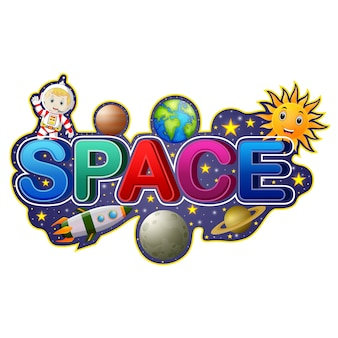 Font design for word space with astronaut