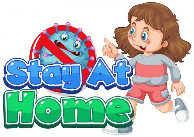 Дизайн шрифта для слова остаться дома с девушкой работает