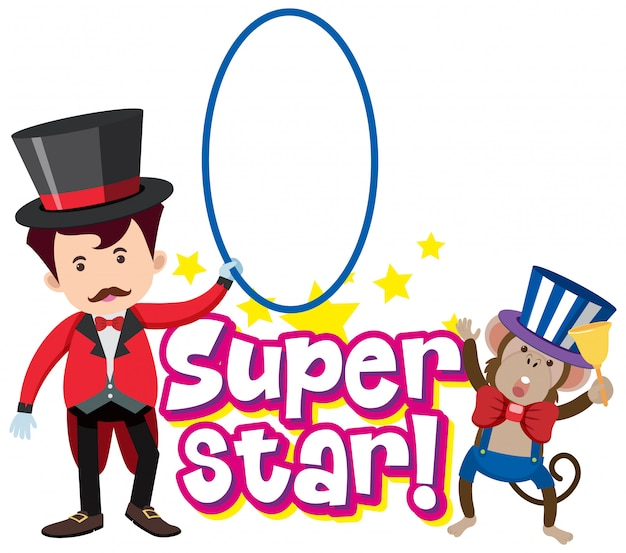 Дизайн шрифта для слова суперзвезда с волшебником и обезьяной