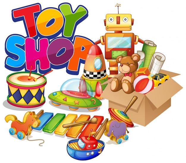 Дизайн шрифта для магазина слов игрушек со многими игрушками на белом фоне