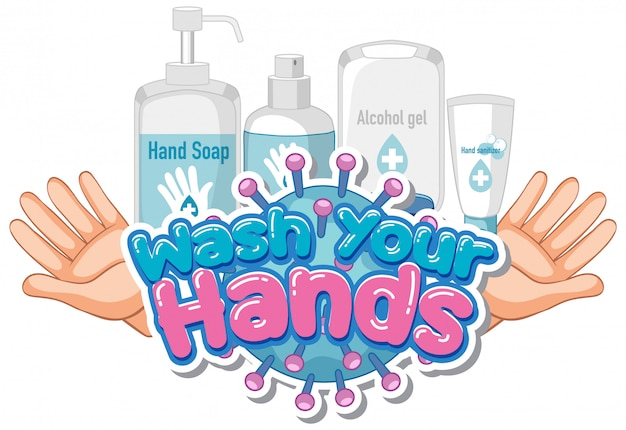 Дизайн шрифта для слова вымыть руки с мылом и чистыми руками