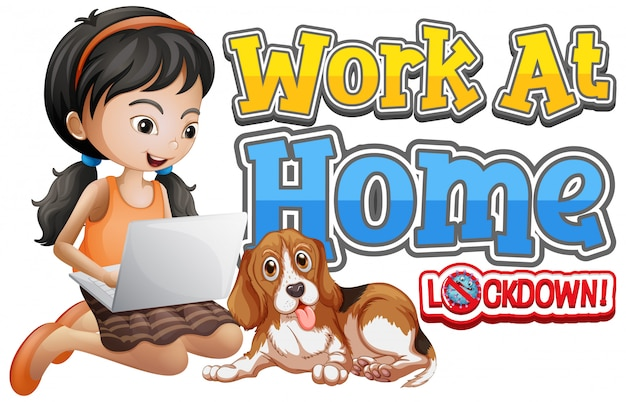 コンピューターで作業している女の子と一緒に家で仕事をするためのフォントデザイン