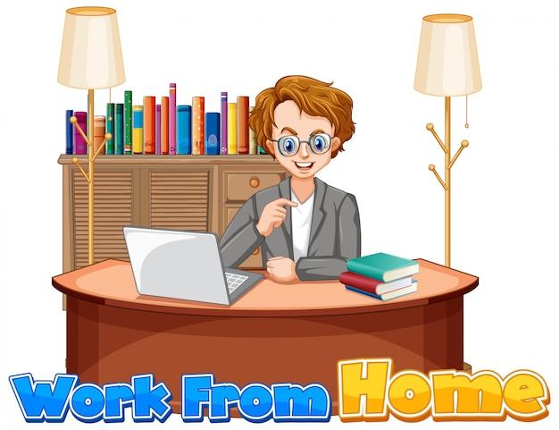 コンピューターで作業する人と自宅から仕事のためのフォントデザイン