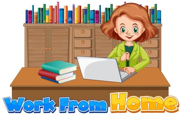 コンピューターで作業する女性と一緒に自宅で仕事をするためのフォントデザイン
