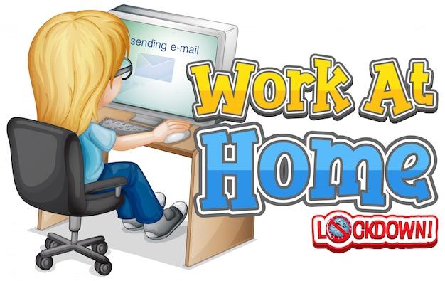 コンピューターで作業する女性と一緒に自宅で仕事をするためのフォントデザイン 無料ベクター