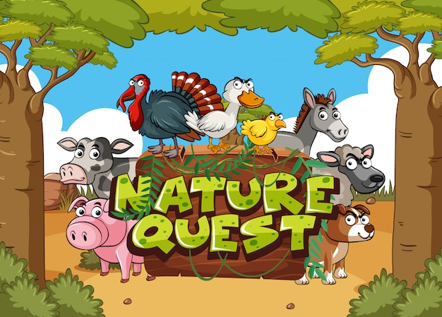 Font design for nature quest with farm animals in background