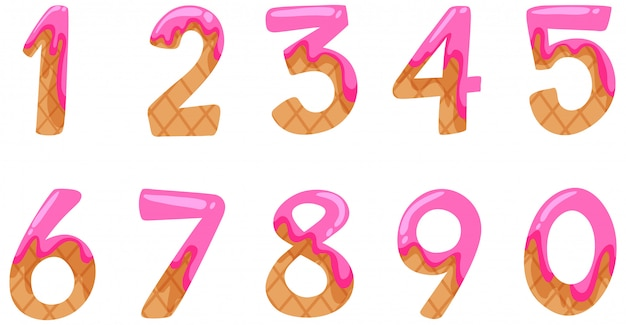Font design for numbers one to zero on white background