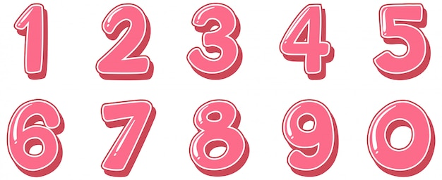 Font design for numbers one to zero